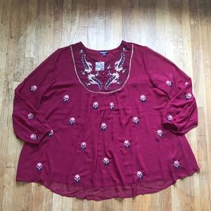 NWOT Roaman's Plus Size Burgundy Sheer Blouse